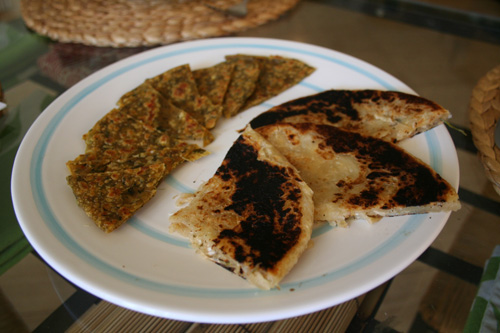 We also heated up a methi paratha and a horseradish and herb one as well.