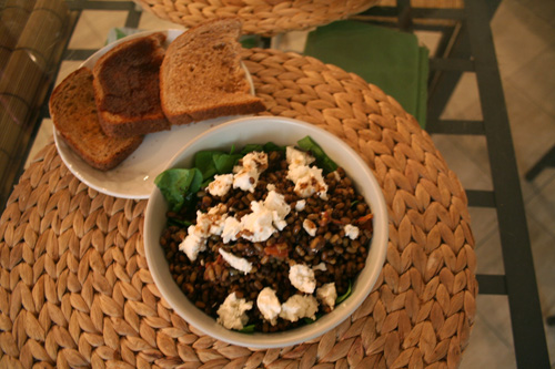For dinner we used up the leftover mung beans to go along with some spinach, goat cheese, and balsamic vinaigrette.