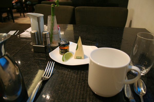 I met up with my parents downstairs for breakfast and asked for a cup of green tea.