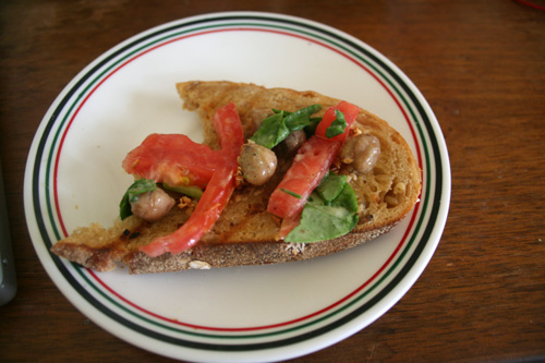I scooped some of the chickpeas and tomatoes on the toast and it was so yummy.