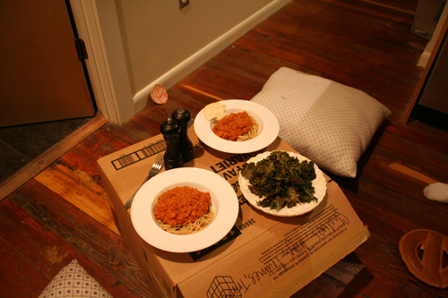 Boxes make for great impromptu tables, and kale chips make even better sides!