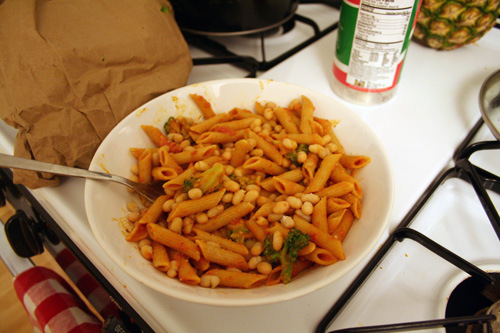 Penne with vodka sauce, broccoli, and cannellini beans.