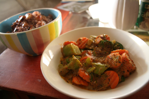 Broccoli and carrots in a peanut sauce + coconut milk.