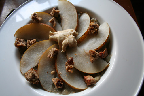 Oats with bananas mashed in + Asian Pear + biscotti + cashew butter