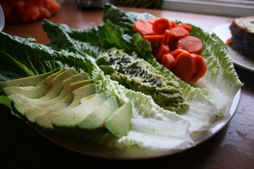 I used romaine as a sort of platter.