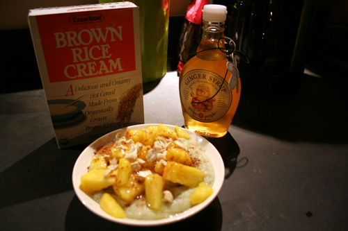Pineapples and cashews! And the ginger syrup, of course.