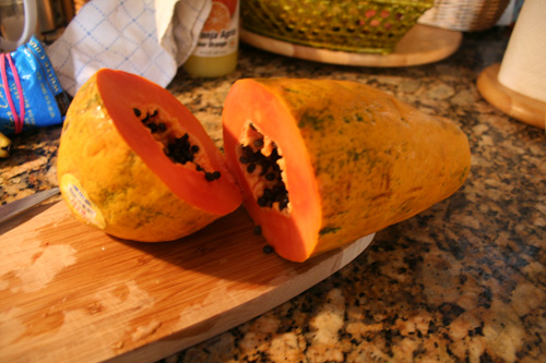 A papaya cut just in time; perfect!