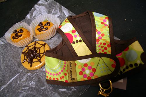"Some pumpkin ""pup""cakes, a spooky cookie, and a new harness (finally!)"